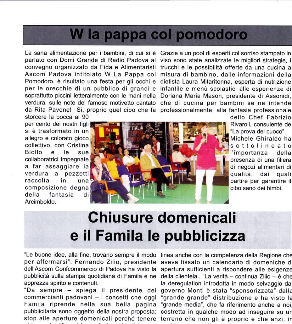 """Il Mattino di Padova: """"Viva la pappa con pomodoro"""""""
